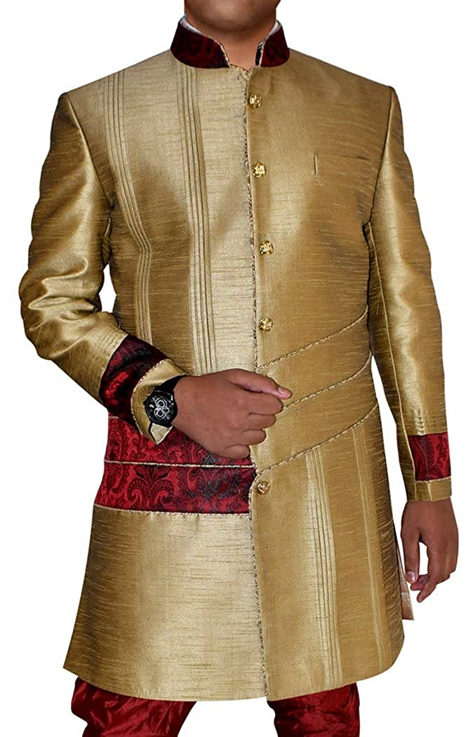 INMONARCH Mens Khakhi Banarasi Brocade 2 Pc Indo Western IN08102