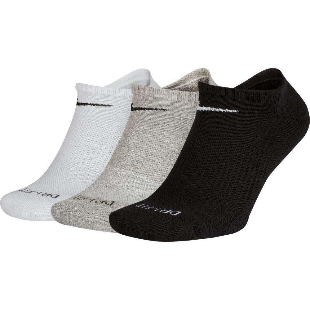Nike Unisex Performance Cushion No-Show Training Sock (3 Pair) (Multicoloured, Large)