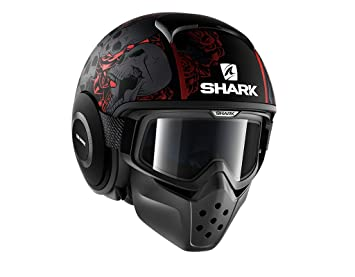 Shark casco de moto Drak Sanctus, color negro/rojo, talla M