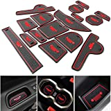 #9: Anti-dust Interior Cup Mats Door Gate Slot Storage Mats for Jeep Renegade 2016 2017 (16PCS/SET, Red)