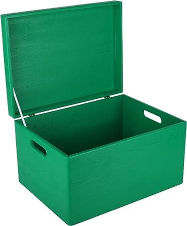 Creative Deco XXL Verde Caja de Madera Grande para Juguetes | 40 x 30 x 24 cm | con Tapa y Asas Cofre para Decorar Almacenaje de Documentos, Objetos de Valor: Amazon.es: Hogar