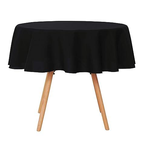 Umi. Essentials - Mantel de Tela para la Mesa Redonda Impermeable Cubierta Protegedor para Comedor Cocina 180 cm Negro