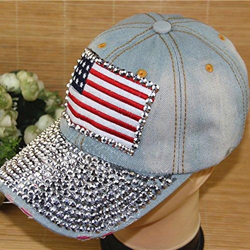 Crazy Genie American Flag Cap Hat Rhinestone Print Denim Rivet Sun-shading Adjustable Baseball Cap Autumn and Winter Women's Cap (Retro Blue)