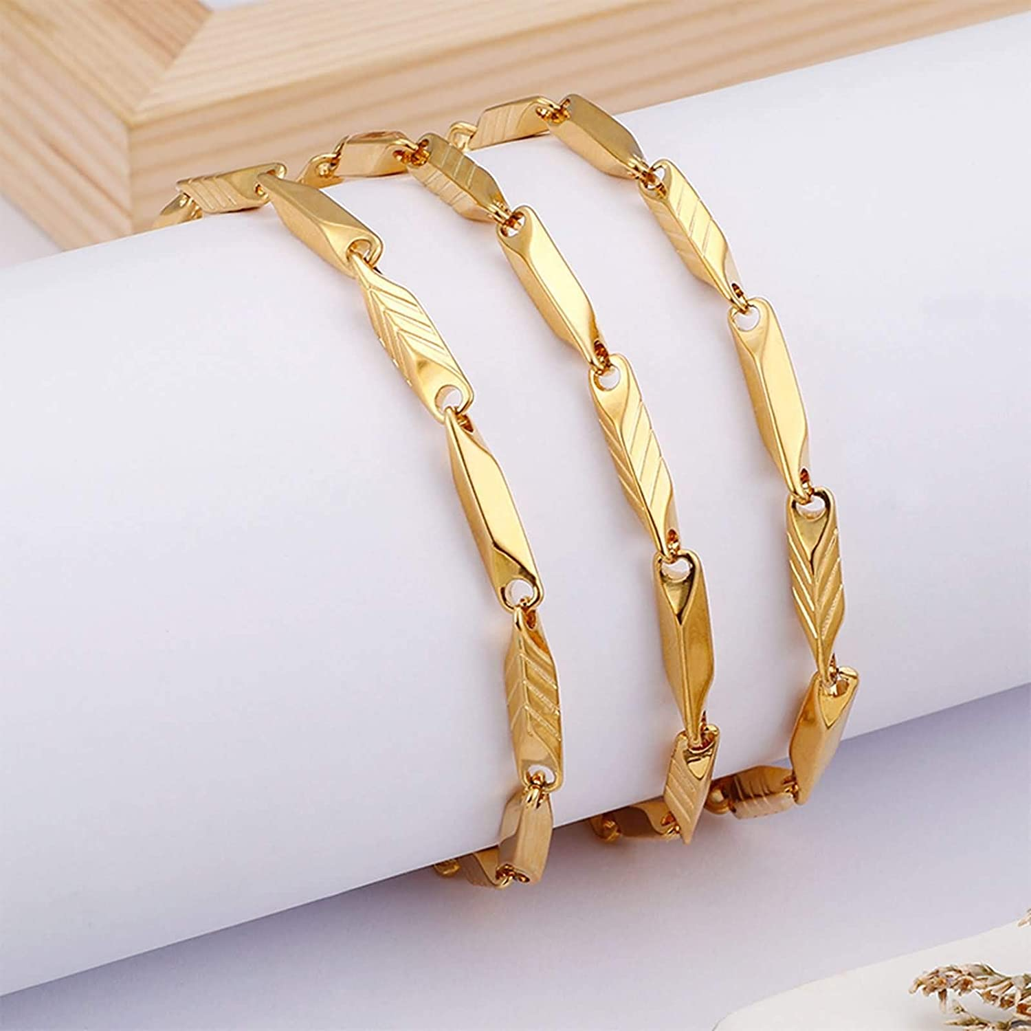Gnzoe 4MM Stainless Steel Chain Necklace for Men Gold Bar Chain Gold Link Chain Necklace Length 24IN
