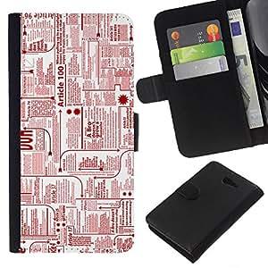EJOY---La carpeta del tirón la caja de cuero de alta calidad de la PU Caso protector / Sony Xperia M2 / --Periódico Anuncios Tinta Roja Impresión escribir cartas