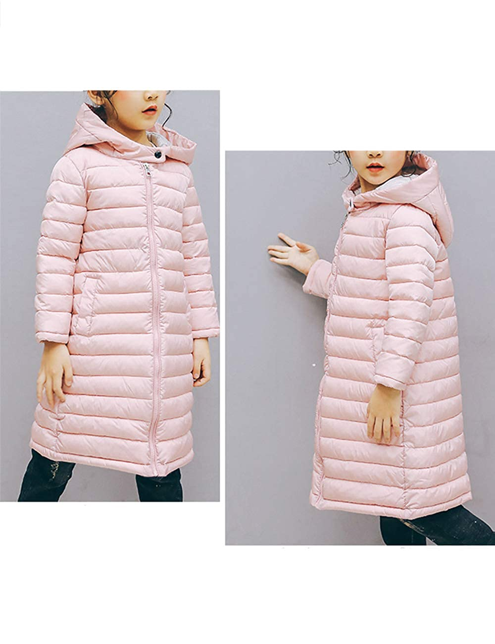 Hooded Long Down Jacket Zhhlinyuan Winter Warm Quilted Coats for Unisex Kids