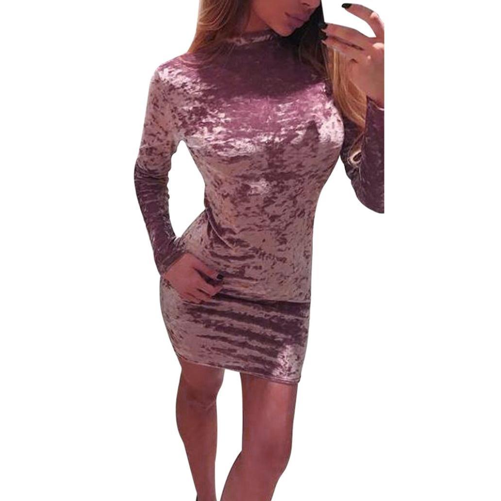 Sumen Womens Velvet Long Sleeve Bodycon Casual Party Mini Dress