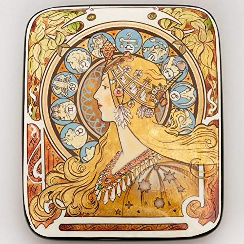 Beautiful Hand-painted Papier-mache Lacquer Box for Jewelry Zodiac Lacquer Box (A. Mucha) Great Gift for Women by Russian Lacquer Miniature (Image #4)