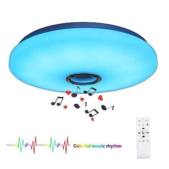 24W Bluetooth Lámpara de Techo Música Luz de Techo Lámpara LED con Altavoz Bluetooth y Control Remoto Adecuado Para el Dormitorio, Sala de Estar, Sala ...