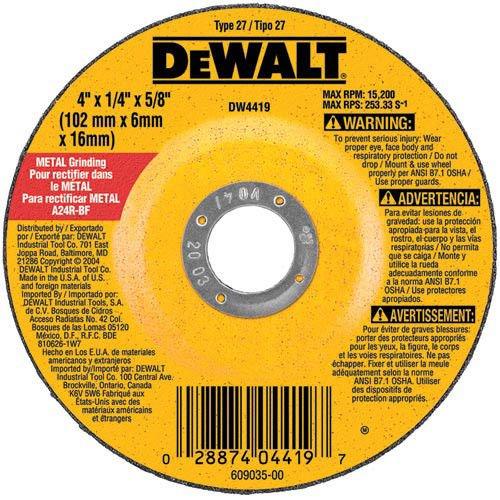 DEWALT DW4514B5 4-1/2-Inch by 1/4-Inch by 7/8-Inch Metal Grinding Wheel (5 Pack Grinding Wheel)