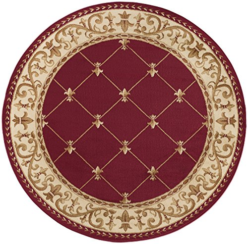 Image of Orleans Traditional Border Red Round Area Rug, 5' Round