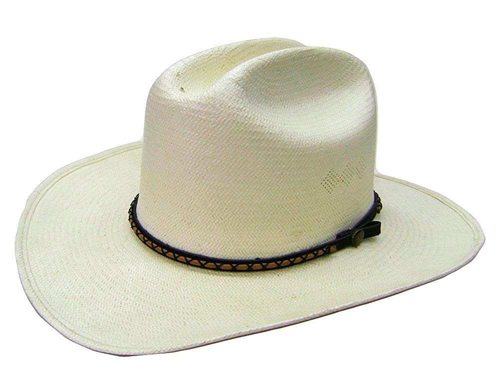 Modestone Straw Bangora Decorative Hatband Cowboy Hat 7 White