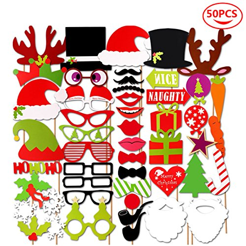 Juday 50 Pcs Christmas DIY Photo Booth Props for Adults Kids Christmas Theme Party Favors Decorations Decor Supplies(L) A Christmas Memory Theme