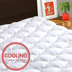 TEXARTIST Mattress Pad Cover Full XL, Cooling Mattress Topper, 400 TC Cotton Pillow Top with 8-21 Inch Deep Pocket