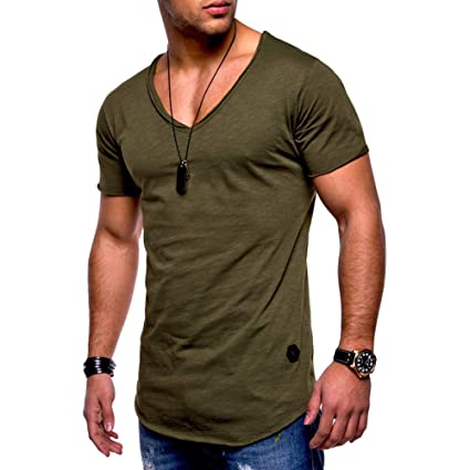 91989ad7f6bd Amazon.com: TRENTON Men T-Shirts Solid Color V-Neck Short Sleeve ...