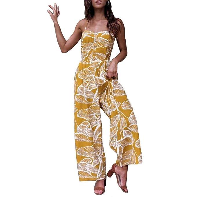 Damen Sommer Jumpsuit Lang Mode Ärmelloses Blatt Gedruckt Jumpsuit Casual  Clubwear Weites Bein Hosen Outfit Overall  Amazon.de  Bekleidung 6a57719ce7