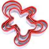 FASAKA 3pcs Stainless Steel Cookie Cutters Set Gingerbread Boy Shape Mould with Red Environmental PVC