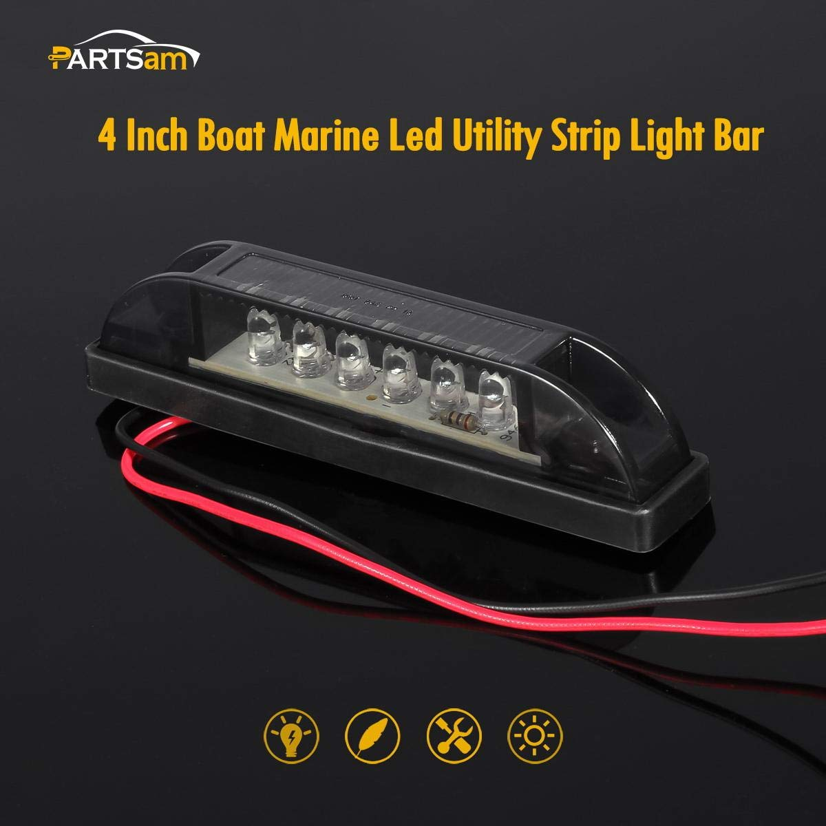 Partsam 6PCS 4 Smoke Lens White 12V 6 LED Utility Strip Bar Lights Sealed Side Marker Lights Smoke Lens RVS for Marine Boats Trailer Truck Bus Light