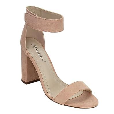97c2c4cf3da Women Block Heel Sandal - Dressy, Formal, Versatile - Ankle Strap Chunky  Heel - Blush