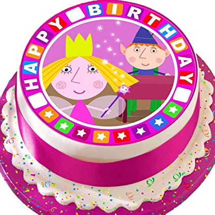 Precut Edible Icing Large Cake Topper 7 5 Inch Round Ben And Holly