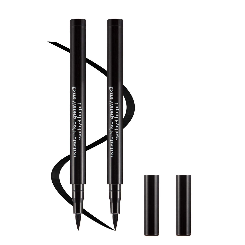 Boobeen 2 Packs Waterproof Liquid Eyeliner Pencil - Long Lasting Eye Liner - Eyeliner Pen Gel for All Day with Slim Tip