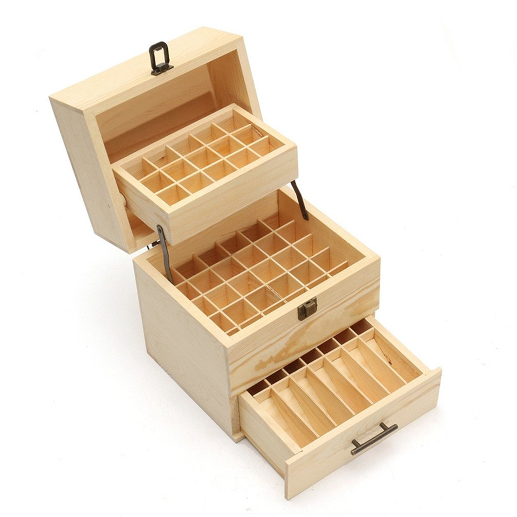 Wooden Essential Oil Storage Box 3 Tier 59 Slots/72 Slots/ 74 Slots Essential Oil Storage Container Aromatherapy SPA Organizer Case (3 Tier 59 Slots) BigWorld