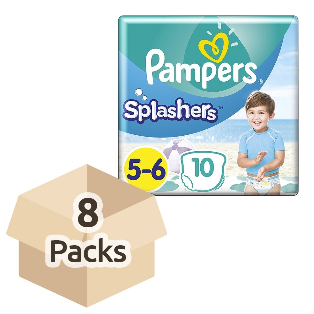 Pampers Splashers Disposable Swim Pants - Size 5/6 (14kg +) - Case of 8 Packs of 10 Procter & Gamble 8001090728944