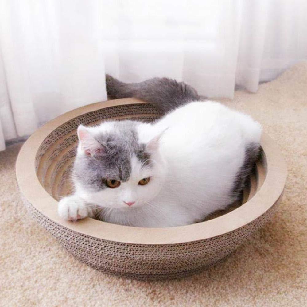 Rotonda Ideale per Dormire e massaggiare Giocattolo per Gatti in Cartone Ondulato a Forma di Ciotola Tiragraffi per Gatti AUOKER