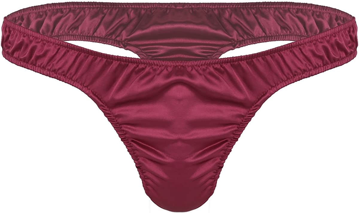 iEFiEL Mens Lingerie Satin Sissy Pouch Triangle Briefs Underwear Panties Thong