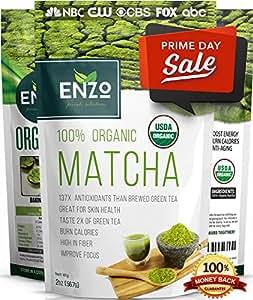 PRIME WEEK SPECIAL - Matcha Green Tea Powder 2oz - Strong Milky Taste USDA Organic Certified - 137x Antioxidants Over Brewed Green Tea - Great for Latte, Smoothie, Ice Cream, Baking