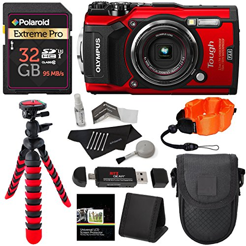 Olympus TG-5 Waterproof Camera with 3-Inch LCD, Red (V104190RU000), Polaroid 32GB Class 10 SD Card, Ritz Gear Tripod, Camera Case and Accessory Bundle by Ritz Camera