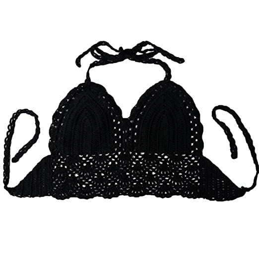 703908d525 Amazon.com  aoliaoyudongyongpin Beach Crochet Lace Bralette Knitted Bra Boho  Beach Bikini Halter Cami Tank Crop Top  Clothing