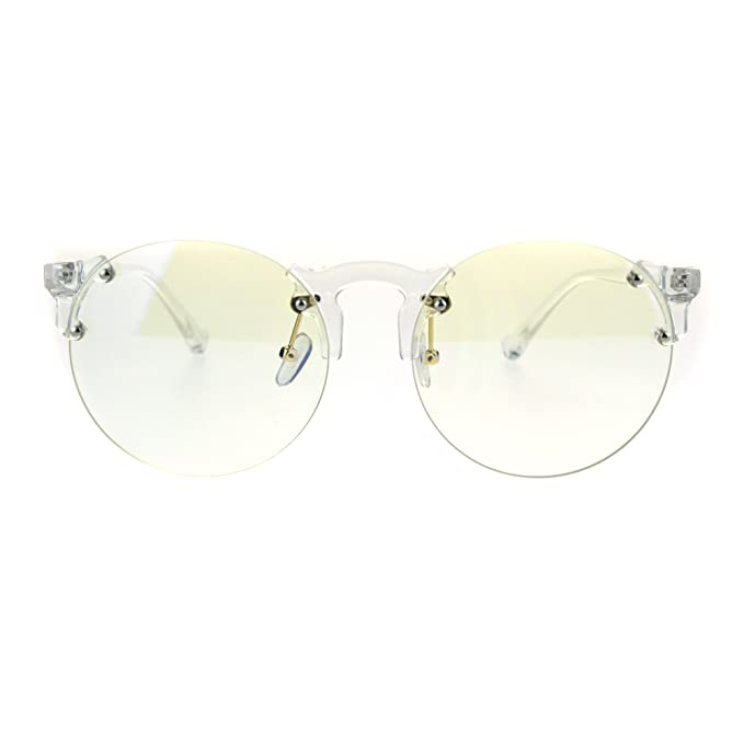 0899a861a1 Amazon.com  Retro Hipster Clear Lens and Frame Round Plastic Rimless Eye  Glasses  Clothing