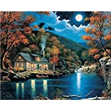 [Framless]Diy Oil Painting Paint By Number Kits Home Decor Wall Pic Value Gift-Linen material- Moonlight 12x16 Inch