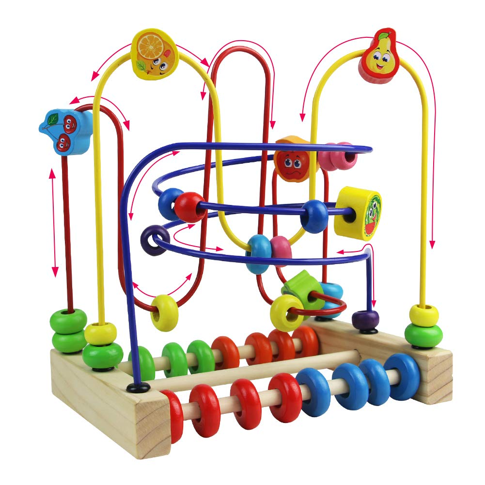 Laberinto Madera Abaco Frutas Juguete Abalorios Madera Cuentas de Maze Cube Juegos Educativos Para Niños 3 4 5 6: Amazon.es: Juguetes y juegos