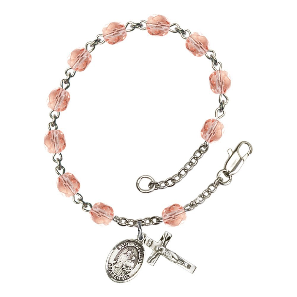Bonyak Jewelry St. Raphael The Archangel Silver Plate Rosary Bracelet 6mm October Pink Fire Polished Beads Crucifix Size 5/8 x 1/4 Medal