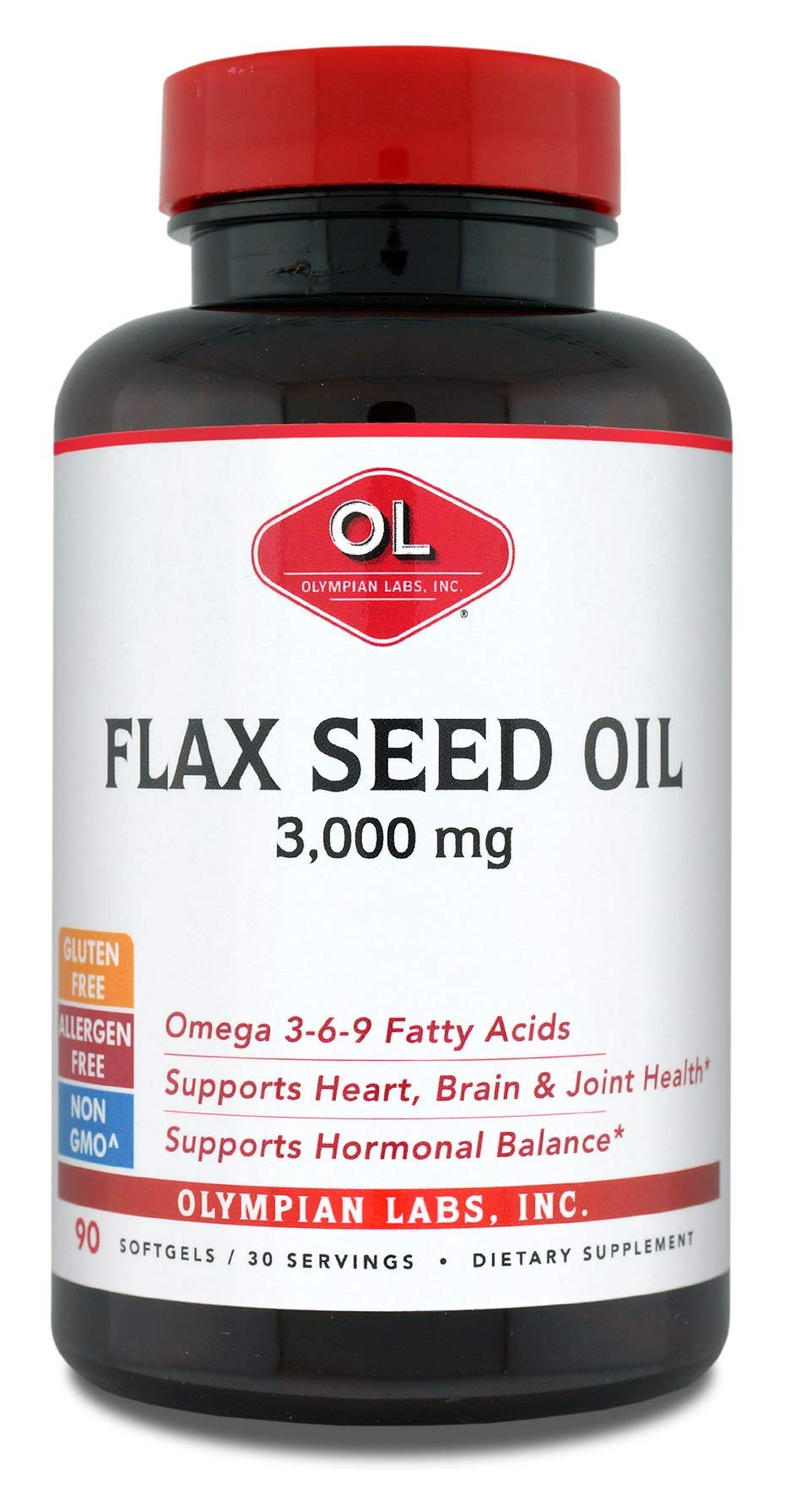 Olympian Labs Flax Seed Oil, High Lignans, 1g (Pack of 2)