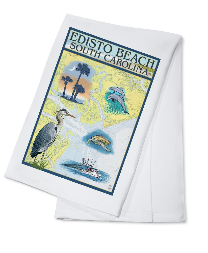 Edistoビーチ、South Carolina – Nautical Chart Cotton Towel LANT-40944-TL B0184BYWOQ  Cotton Towel