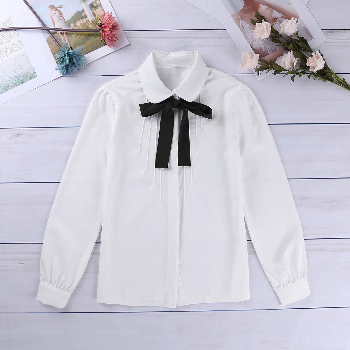 2710069cb7 Freebily Chemisier Femme T-Shirt Haut Cravate Chic à Manche Longue Blouse  Pull Tops Shirt Casual Chemise Automne Hiver Mode Veste Costume Écolière  Soirée ...