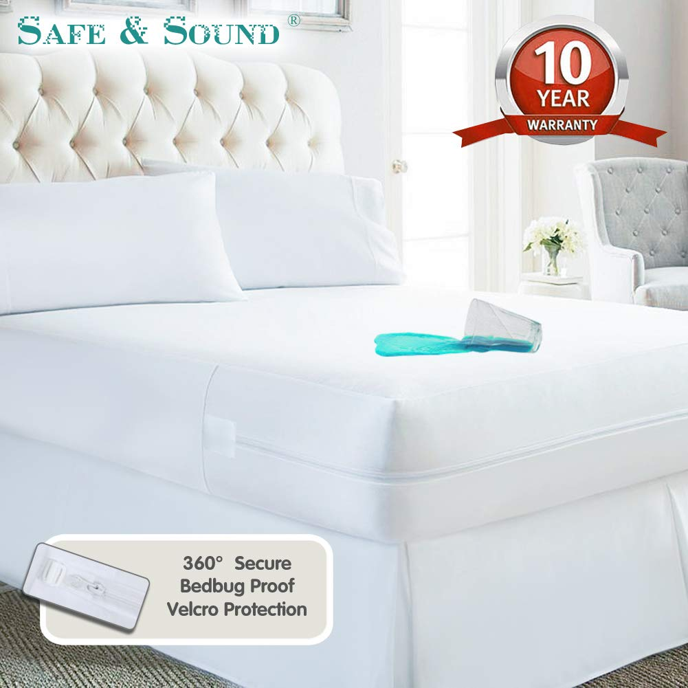 Waterproof Zippered Mattress Encasement, Premium Breathable Mattress Cover, Vinyl Free Mattress Protector Twin Size by Safe and Sound