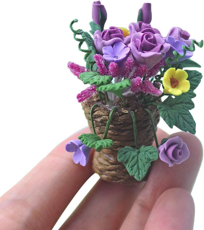 HKFV 1:12 de Maison De Poup/ées Artificielle Fleur Miniature D/écor Exquis Ornement Plante Miniature D/écoration de Maison de Poup/ée