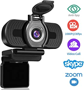 Dericam 1080P Webcam with Microphone, USB Computer Web Camera, Plug and Play Desktop and Laptop Webcam for Windows Mac OS, for Video Calling Streaming, Conference, Gaming, Online Classes
