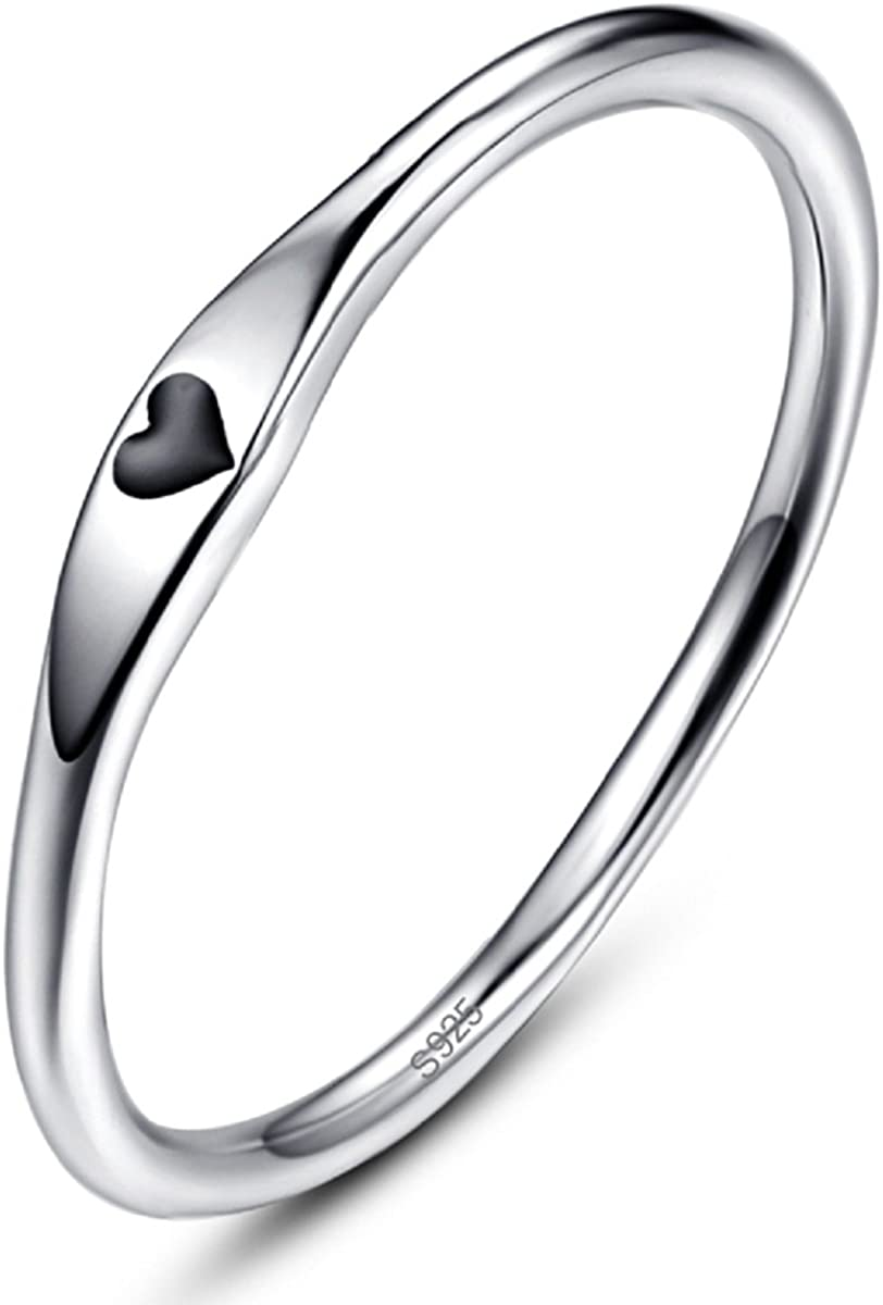 AVECON 925 Sterling Silver Simple Carve Heart Wedding Band Stackable...
