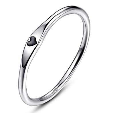 Avecon 925 Sterling Silver Simple Carve Heart Wedding Band Stackable Promise Ring For Her Size 5 10