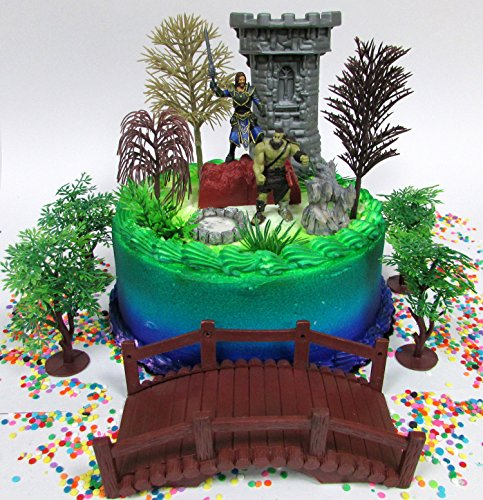 World Of Warcraft Accessories (WOW Gaming World of Warcraft Lothar and Warrior Birthday Cake Topper Set Featuring Figures and Decorative Themed Accessories)
