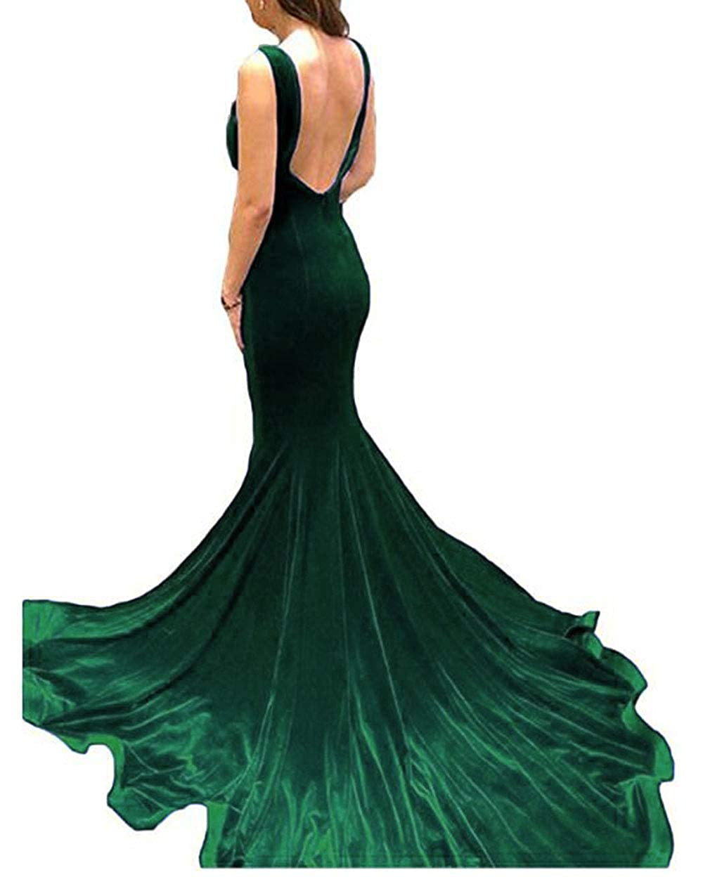 Dark Green alilith.Z Sexy Spaghetti Strap Velvet Prom Dresses Mermaid Long Formal Evening Dresses Party Gowns for Women with Slit