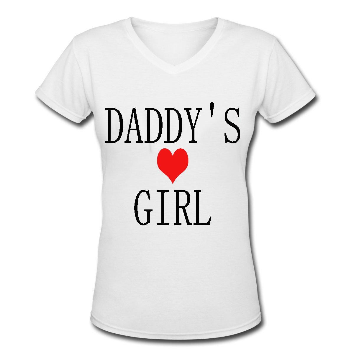 01feee47f Amazon.com: Gongshaoming Daddy's Girl Women's Short Sleeve V-Neck T-Shirt:  Clothing