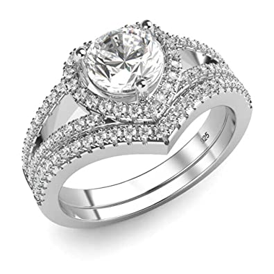 Amazoncom Sterling Silver 925 Cubic Zirconia CZ Heart Engagement
