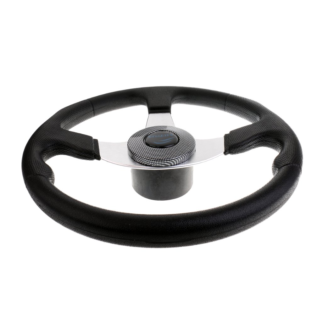 MagiDeal Heavy Duty 340mm Aluminum Alloy Marine Boat Steering Wheel 3 Spoke 3/4 Shaft with Black PU Grip