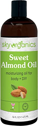 Sweet Almond Oil by Sky Organics (Large 16oz) Pure Cold-Pressed Almond